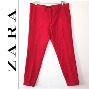 Zara Woman Brocade Ankle Pants Sz L Red Textured